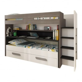 BO10 Twin Bunk Bed with Desk and Underbed Drawers