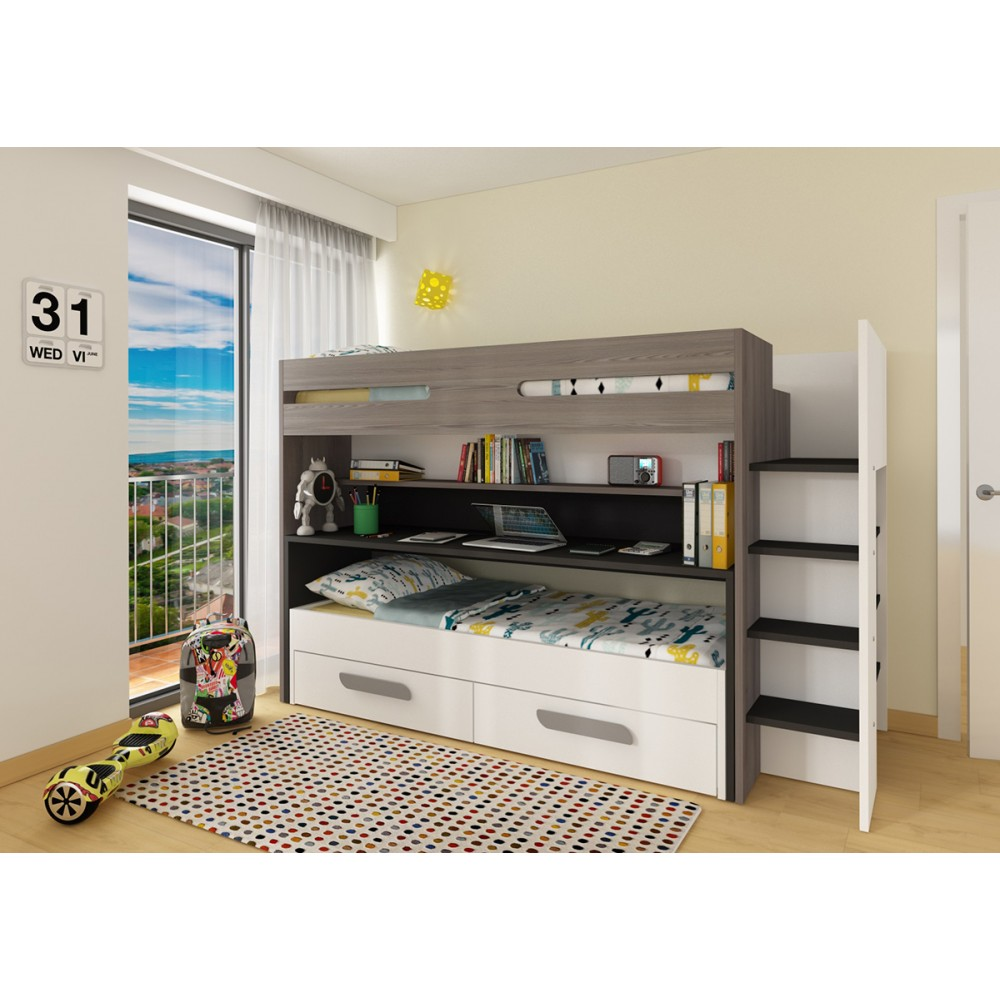 bo10 twin bunk bed with desk and underbed drawers. Black Bedroom Furniture Sets. Home Design Ideas